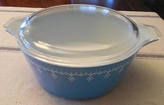 Vintage 1970s Pyrex Blue Snowflake Garland 2 12 Quart Casserole Baking Dish w Clear Lid * Learn more by visiting the image link.