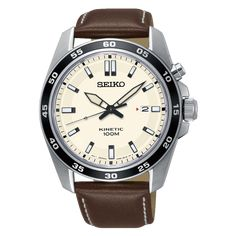Seiko Kinetic SKA787P1 Seiko 5 Automatic Watch, Automatic Watches For Men, Bar Logo, Mens Watches Leather, Bracelet Cuir, Seiko Watches, Wrist Watches, Beautiful Watches, Schmuck