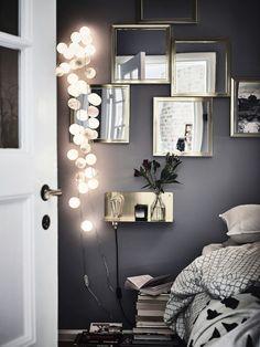 Komplettera med extra belysning i form av sänglampor, fönsterlampor och kanske en dekorativ ljusslinga. Ett riktmärke att gå efter är fem till nio ljuspunkter per rum, beroende på rummets storlek.