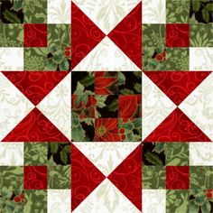 Star Crossed Christmas Quilt Block: love the floating red squares in the corners