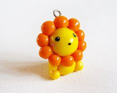 Polymer Clay Cute Kawaii Yellow Lion Charm Necklace