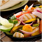 Chicken and Veggie Fajitas (you have to scroll down to get to the recipe)