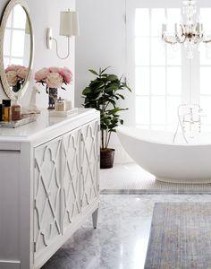 Love this romantic and feminine master bath design.