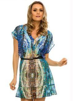 Vestido Amplo com Decote V Azul Kodifik - Posthaus
