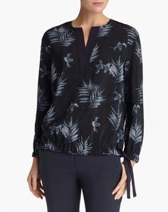 ink multi botanic impression silk joan blouse