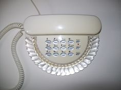 Boudoir Phone White Scalloped Lucite Push Button 80s Columbia Desk Telephone