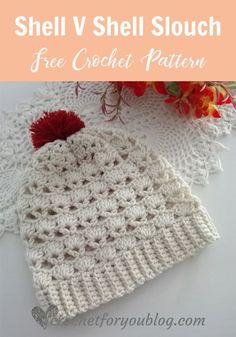 FREE - CROCHET - Shell V Shell Crochet Slouch Free Pattern ~ sized for adult but can be adjusted to any size ~ easy level Easy Crochet Hat, Crochet Shell Stitch, Crochet Beanie Pattern, Crochet Cap, Easy Crochet Patterns, Crochet Gifts, Crochet Scarves, Crochet Designs, Free Crochet