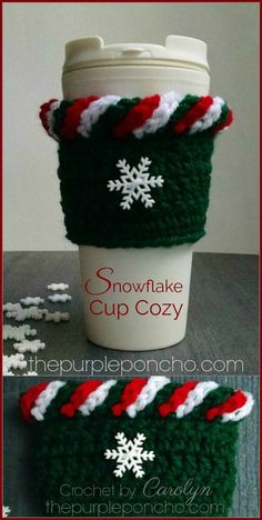 Knitting and Crochet Ideas Cup Cozies - Snowflake Cup Cozy Free Crochet Pattern. Crochet Christmas Gifts, Crochet Christmas Decorations, Christmas Crochet Patterns, Holiday Crochet, Teacher Christmas Gifts, Crochet Gifts, Christmas Crafts, Christmas Countdown, Crochet Coffee Cozy
