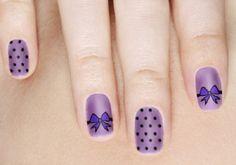 purple polka dots bows nail art design - 30 Adorable Polka Dots Nail Designs <3 <3