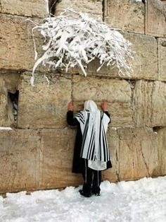 Praying At Wall In Snow Storm, Jerusalem, Israel