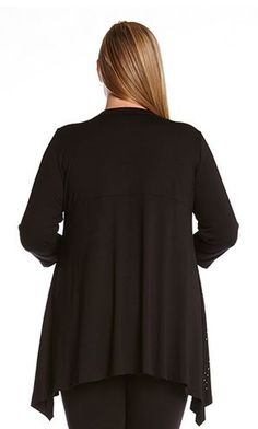 PLUS SIZE BLACK HOLIDAY FASHION 3/4 SLEEVE STUDDED HANKY TOP #Karen_Kane #Black #Studded #Hanky #Top #Comfy #Chic  #Winter #Holiday #Fashion #Plus_Size_Fashion