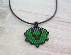 Handcrafted Beaded Thistle Pendant and Leather Necklace - FLOWER OF SCOTLAND £16.00