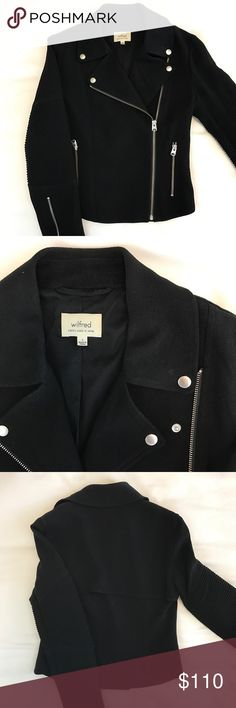 Wilfred Black Japanese Crepe Moto Jacket Sz 2 Wilfred Black Japanese Crepe Moto jacket, size 2. Fits like an XS. Fully lined, beautiful details. Very light wear. Purchased at Aritzia. Aritzia Jackets & Coats Utility Jackets