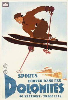 Dolomiti, Mario Puppo, poster pubblicitari sullo sci - skiing advertisement posters