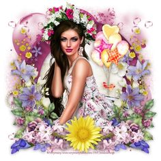 Love Wallpaper, Fantasy Girl, Digital Scrapbooking, Marie, Floral Wreath, Wreaths, Cluster, 3d, Women