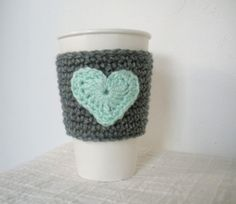 My new love! perfect for my reusable Starbucks cup that gets Fricken HOT! Crochet Coffee Cup Sleeve Valentines Day Crochet Cup by LanadeAna, $7.95