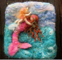 Needlefelted wool painting Riding the Waves
