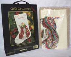 "Christmas Angel Holiday Stocking Counted Cross Stitch Kit Dimensions Gold 16"" #Dimensions #Angel"