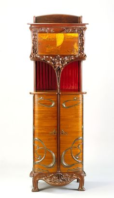 Art Nouveau Cabinet - c. 1900 - by Louis Majorelle (French, 1859-1926) - Kingwood, mahogany, amaranth, metal, silk - @~ Mlle