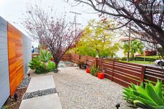 Mid-century Modern yard, horizontal fence
