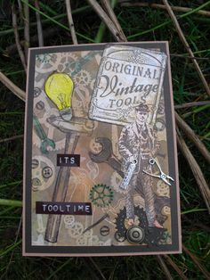 It`s tooltime.   This card uses an assortment of stamps from three Viva Décor sets, Old Fashioned, Vintage Tools and Gentleman.    FIT has the first two but not Gentleman.