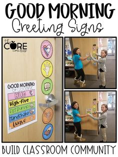 Editable Morning Greeting Signs to Build Classroom Community - Classroom Ideas . - Editable Morning Greeting Signs to Build Classroom Community – Classroom Ideas – - First Grade Classroom, Future Classroom, Classroom Door Signs, Kindergarten Classroom Management, Welcome Door Classroom, Preschool Classroom Centers, Year 3 Classroom Ideas, Preschool Classroom Layout, Preschool Behavior Management