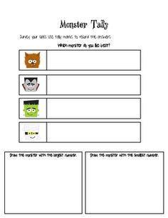 This is a fun freebie created just for you! This fun monster graph allows students to survey the class and use tally marks to record answers. Students will then graph the results of their survey on to the Monster Graph. Maths, School Stuff, Bar Chart, Just For You, Student, Fun, Bar Graphs, Hilarious