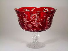 Ajka Magda Nemeth Ruby Red Cut to Clear Crystal Glass Footed Bowl Sign Numbered Red Dinnerware, Carlton Ware, Cranberry Glass, Antique Perfume Bottles, Crystal Design, Fused Glass Jewelry, Glass Collection, Red Glass, Glass