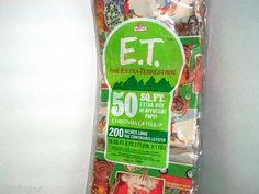 RARE FIND! Pack of Collectible 1982 E.T. Christmas Gift Wrap Paper in Original Packaging.