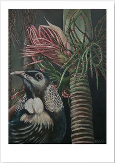 Moreau Tui and Nikau Art Print – Margaret Petchell Artist Maori Art, Magic Hour, Tropical Art, White Texture, Epson, Bird Art, Natural World, Random Things, Watercolour