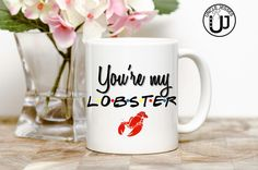 You're My Lobster Mug Water Bottle and/or Thermos by UncleJesses friends tv show inspired ross and Rachel i'll be there for you funny mug