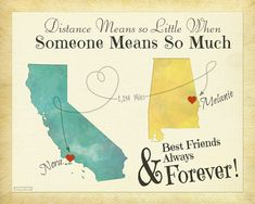 """""""Best Friends Always & Forever"""" map can include any two states and/or countries and it is the perfect gift for best friends, sisters or anyone else"""