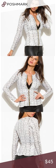 NWT White Python Peplum Jacket New comes in packaging | This insanely stylish peplum jacket is trendy, timeless, and sophisticated. Amazing faux leather fabric with medium fabric that provides great structure. Exposed zipper in front makes it fun to wear, zipped up all the way for work, and dip down half way for happy hours | 96% Polyester 4% Spandex | Unlined, Stretchy | Made in USA Boutique Jackets & Coats Blazers