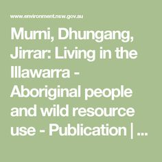 Murni, Dhungang, Jirrar: Living in the Illawarra - Aboriginal people and wild resource use - Publication   NSW Environment & Heritage