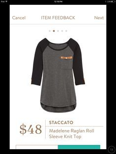 Staccato, Madelene Raglan Roll Sleeve Knit Top