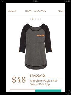 Staccato, Madelene Raglan Roll Sleeve Knit Top