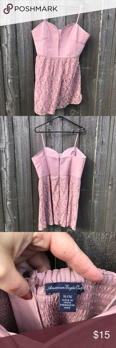 Pink American Eagle Lace Dress Light pink American Eagle lace dress. Structured bodice with lace skirt that hits above the knee. Exposed zipper and elastic in the back for some stretch. Skirt is not A-line. American Eagle Outfitters Dresses