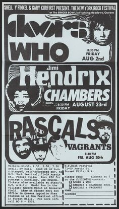 1964 Handbill for the New York Rock Festival — with The Doors, The Who, Jimi Hendrix, The Chambers Brothers, The Rascals & The Vagrants