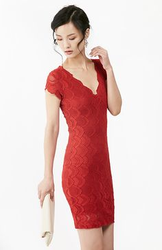 Nightcap Victorian Deep V Pencil Dress in Red 2 - 4   DAILYLOOK
