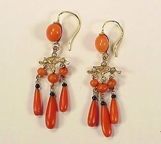 Victorian French 18K Gold, Coral, Onyx & Pearl Earrings