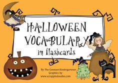 FREE! 24 fun #Halloween vocabulary cards and Halloween themed #alphabet cards. You can use them individually or together to practice initial sounds!