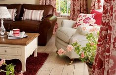 I love the look of English Country Decor and what better inspiration than Laura Ashley designs. source I love the classic chin. Country Style Living Room, Living Room Red, Cottage Living Rooms, Country Decor, Living Spaces, Room Color Schemes, Room Colors, Colours, Country Cottage Interiors