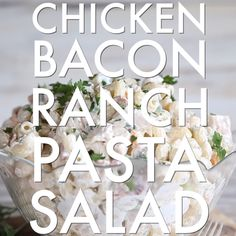 Chicken Bacon Ranch Pasta Salad is the ULTIMATE summer pasta salad. So simple to make and absolutely bursting with flavour, after trying this recipe you won't make pasta salad any other way! Salad Recipes Video, Chicken Salad Recipes, Pasta Recipes, Pasta Salad With Chicken, Recipe Videos, Bacon Recipes, Bacon Ranch Pasta Salad, Chicken Bacon Ranch Pasta, Macaroni Salad