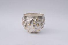 Yusuke Yamamoto - 'Ice' beaker Hammer-raised, chased, engraved silver 958 and nunome inlay 24ct gold foil