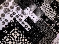 """80 4"""" Fabric Quilt Squares Black & White Sewing Quilting Cotton Fabric Ships Free 3 Free Patterns"""