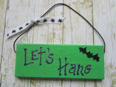 Halloween Bat SignBat SignHalloween by BrownBeaverBeadery on Etsy