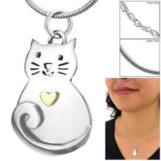 Love Cat Brass & Sterling Necklace at The Animal Rescue Site