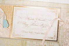 Michelle + Renzo's Elegant Gold Foil Wedding Invitations