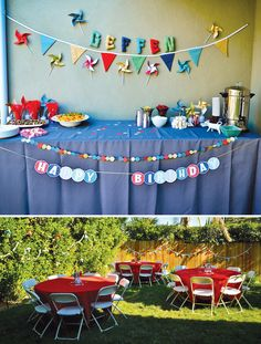 pinwheels and polkadots birthday party banners
