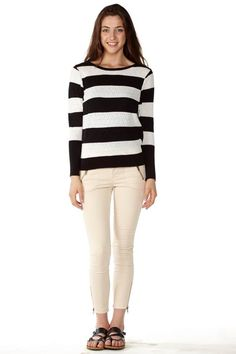 Bring this #Stylish Stripe Knit Pointelle Sweater to your wardrobe! #FreeShipping #OOTD